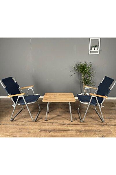 Calido Katlanır Ahşap Kollu 2 adet Lacivert Sandalye 1 adet 45x60 Masa Balkon Bahçe Takımı