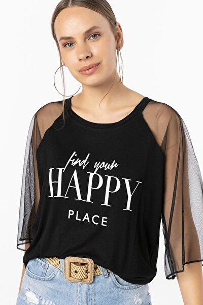 Happy Baskılı Kolları Tül Bluz
