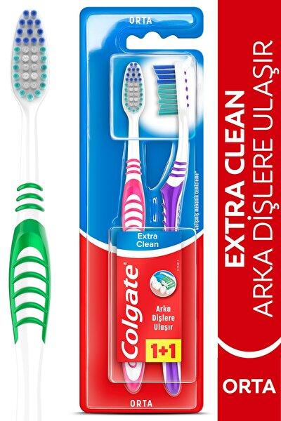 Extra Clean Dil Temizleyicili Arka Dişlere Uzanan Orta Diş Fırçası 1+1