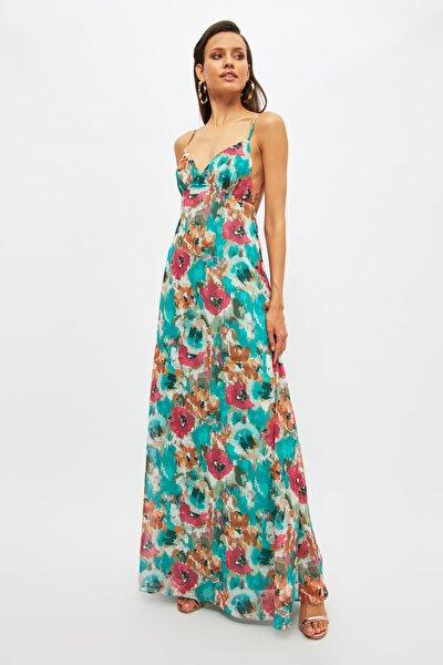 Çok Renkli Sırt Dekolteli Abiye & Mezuniyet Elbisesi TPRSS21AE0040