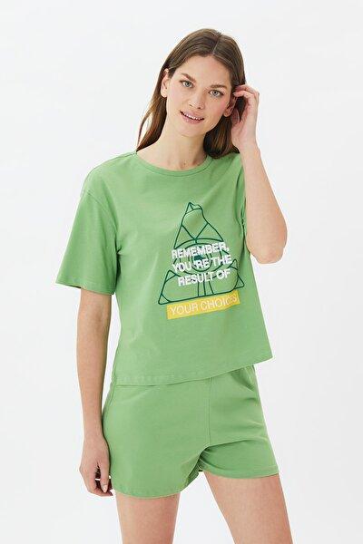 Yeşil Sloganlı Örme Pijama Takımı THMSS21PT1048
