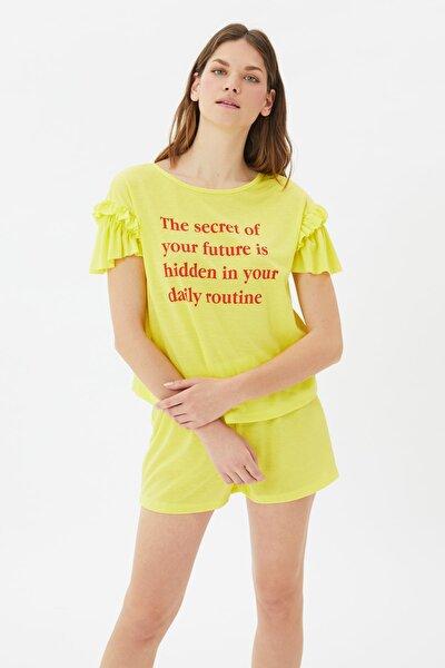 Sarı Sloganlı Örme Pijama Takımı THMSS21PT1079