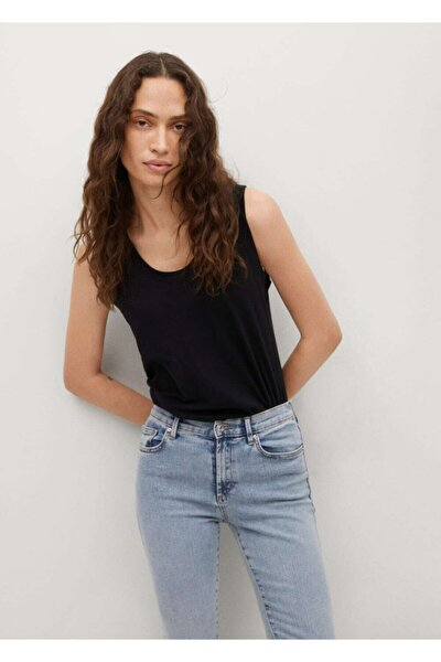 Kadın Donuk Mavi Elsa Orta Bel Skinny Jean Pantolon