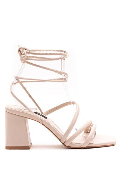 Kadın Ten Rengi Günlük Topuklu Sandalet Ayakkabı
