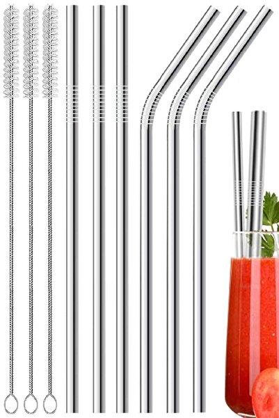 9 Parça Metal Pipet Seti Paslanmaz Çelik Pipet Ve Çubuk Pipet Temizleme Fırçası
