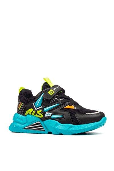 Unisex Çocuk Siyah Turkuaz Cırtlı Sneakers Spor Ayakkabı