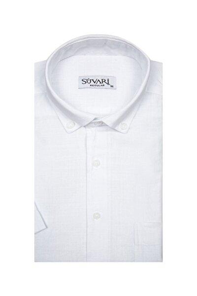 Bol Kesim Kısa Kollu Beyaz Erkek Gömlek