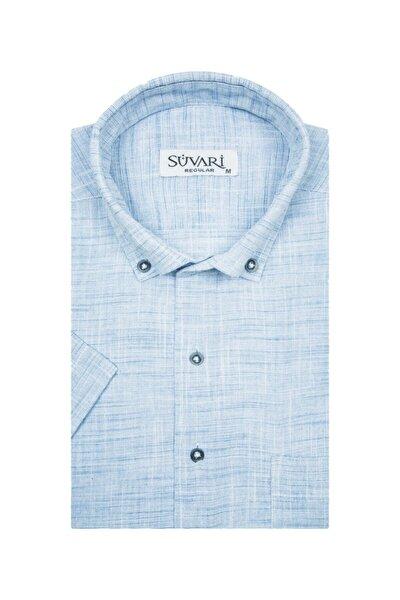 Bol Kesim Kısa Kollu Buz Mavisi Erkek Gömlek