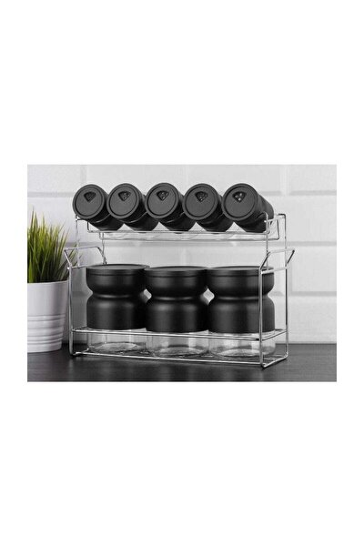 B23 Trend 9 Parça Renkli Metal Kaplı Cam Baharat Takımı - Siyah Fma05079
