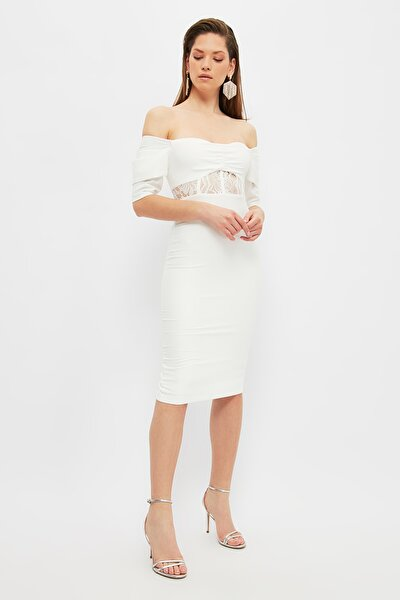 Ekru Yaka Detaylı Elbise TPRSS21EL2490