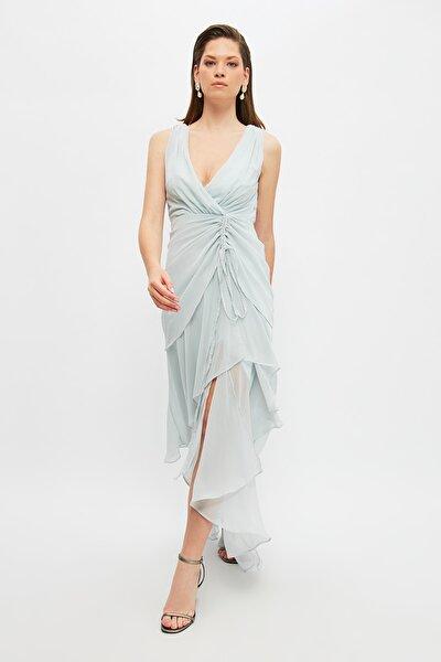Gri Büzgü Detaylı Abiye & Mezuniyet Elbisesi TPRSS21AE0031
