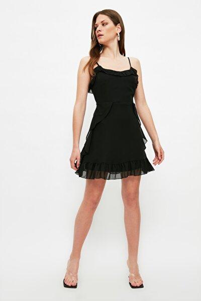 Siyah Volanlı Elbise TWOSS20EL1267