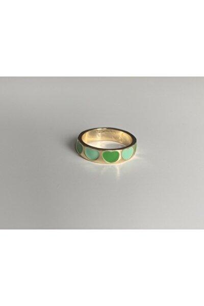 Yeşil Mini Kalpli Gold Yüzük