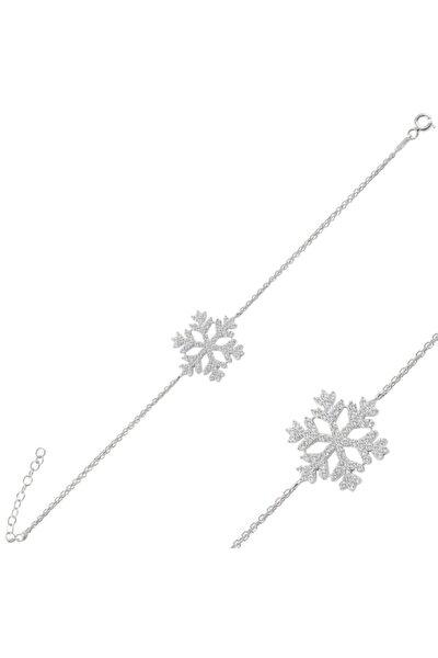 Kadın 925 Ayar Gümüş Rodyumlu Kar Tanesi Bileklik
