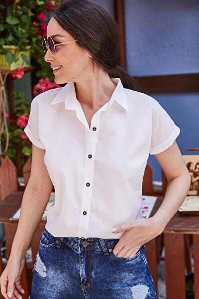 Kadın Beyaz Kısa Kol Gömlek ARM-19Y001065
