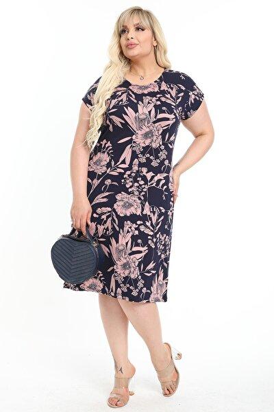 Kadın Büyük Beden Lacivert Üzerine Pembe Rengi Çiçek Desenli Elbise