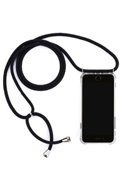 Iphone 6 Plus/ 6s Plus Için Boyun Askılı Şeffaf Kılıf Siyah Ipli