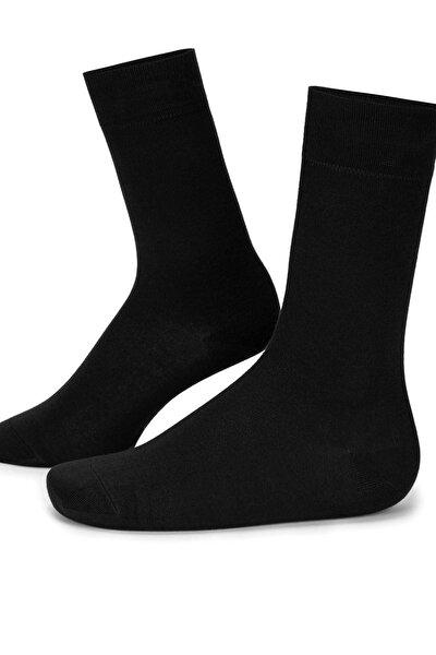 (4 Çift) Erkek Bambu Çorap Dikişsiz Uzun Siyah Renk