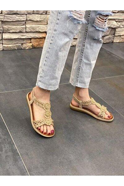 21y156-4 Kadın Hasır Comfort Taban Günlük Sandalet