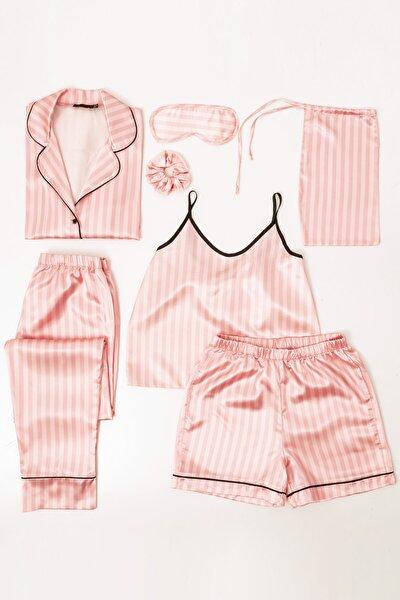 7 Li Cizgili Saten Pijama Takım