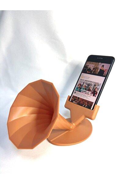 Sert Plastik Gramofon Tasarımlı Akustik Telefon Tutacağı Standı