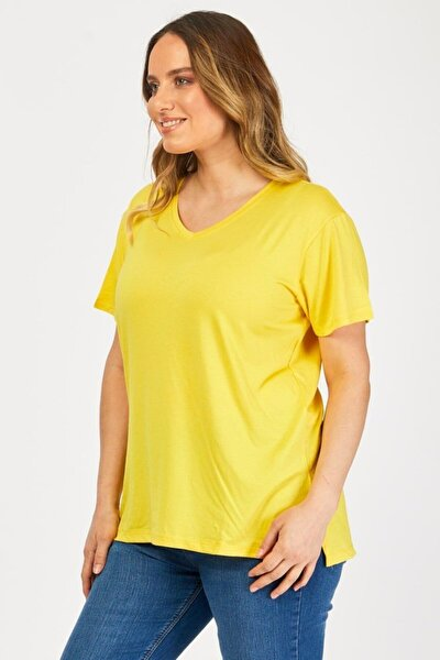 Kadın Sarı Salaş V Yaka Penye Tshirt