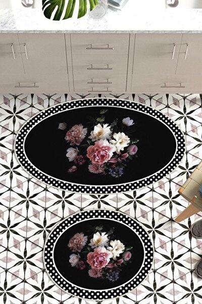 60x90 - 50x60 Rose&black Dijital Banyo Paspası 2'li Oval Klozet Takımı