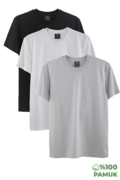 Erkek T-shirt 3'lü  (Siyah-Beyaz-Gri)