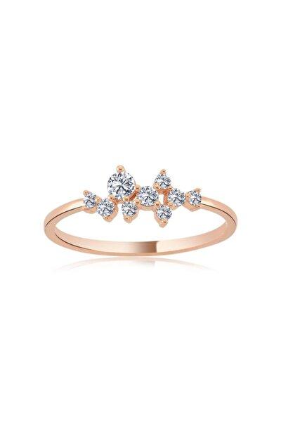 Asimetrik Işıltı Taşlı Rose Renk Gümüş Yüzük
