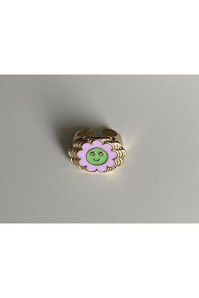 Lila Yeşil Katmanlı Smiley Yüzük