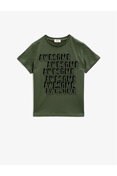 Erkek Çocuk Yeşil Yazılı Pamuklu Kısa Kollu Bisiklet Yaka T-Shirt