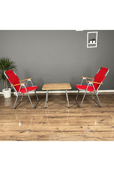 Calido Katlanır Ahşap Kollu 2 Adet Kırmızı Sandalye 1 Adet 45x60 Masa Balkon Bahçe Takımı