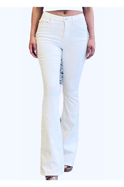 Kadın Beyaz Ispanyol Paça Yüksek Bel Likralı Kot Pantolon