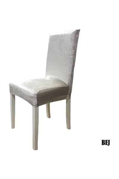 Ipek Kadife Likralı Sandalye Kılıfı 6 Lı Paket Bej
