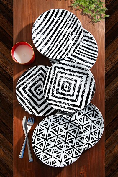 Özel Tasarım Handmade Pasta Tabak Seti - Porselen - Pastel Serisi 6'lı  21cm