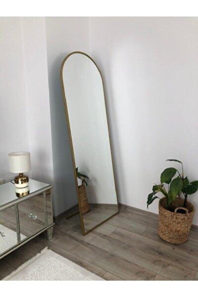 Altın Metal Çerçeveli Ayaklı Boy Aynası 180x60 cm