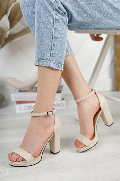 Krem Platform Tek Bant Topuklu Ayakkabı