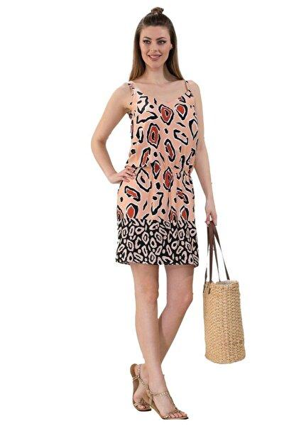 Dokuma Kumaş Yazlık Askılı Plaj Elbisesi 1042