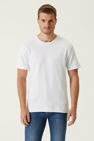 Erkek Comfort Fit Beyaz Bisiklet Yaka Basic T-shirt 1078326