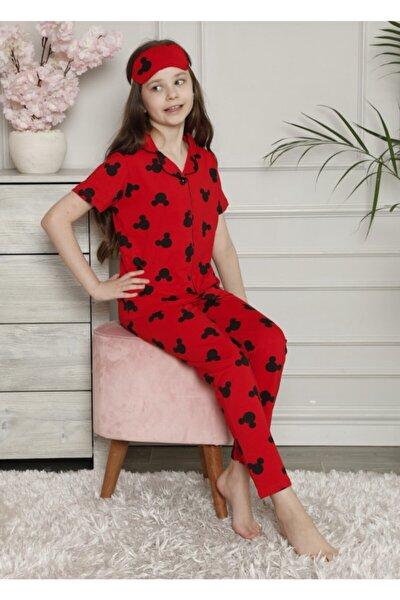 Kız Çocuk Mickey Desenli Pijama Takımı Göz Bandı Dahildir Kısa Kol