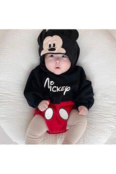 Siyah Erkek Bebek Kapşonlu Uzun Kol Badi Tulum