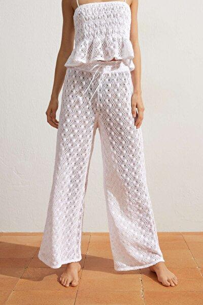 Kadın Beyaz Pamuklu Tığ Işi Pantolon