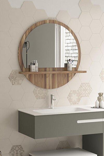 Yuvarlak 60cm Ceviz Raflı Banyo Aynası Koridor Dresuar Konsol Duvar Salon Mutfak Çocuk Yatak Odası