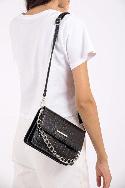 Siyah Timsah Desenli Zincirli Moda Tasarım Crossbody Çanta