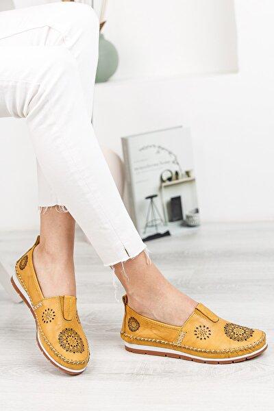 Hakiki Deri Sarı Kadın Deri Babet Dp16-0065