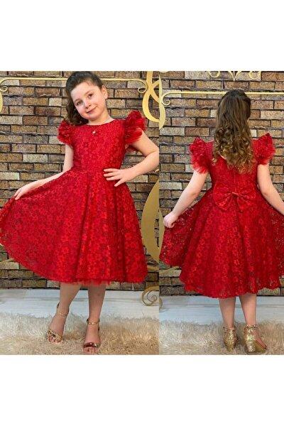 Kız Çocuk Kırmızı  Güpürlü  Elbise