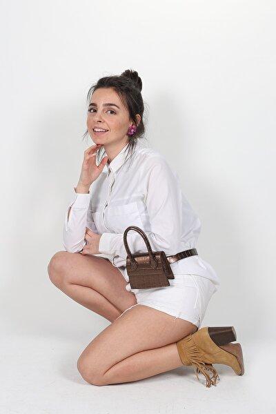 Kadın Bronz Mini Zincirli Kemerli Çanta