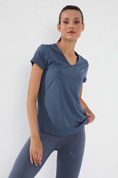 Petrol Kadın Basic Kısa Kol Standart Kalıp V Yaka T-shirt - 97145