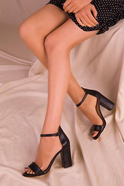 Kadın Siyah Cilt Topuklu Ayakkabı