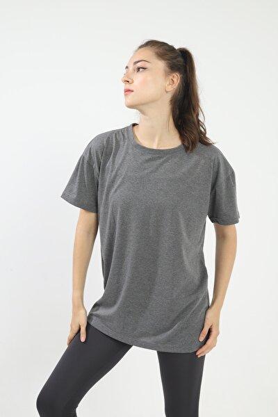 Antrasit %100 Pamuk Bisiklet Yaka Oversize Örme Tshirt